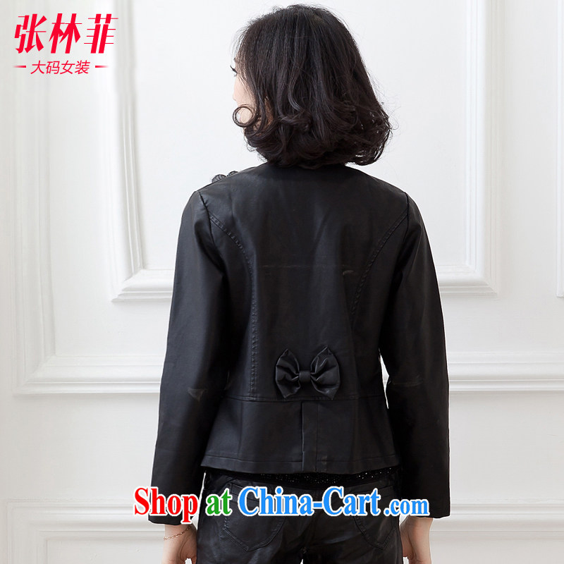 Zhang Lin , the fat XL women mm thick load fall 2015 new Korean video thin jacket thick sister cardigan black leather jacket jacket black 4XL recommendations 180 - 200 jack, Zhang Lin (ZHANGLINFEI), shopping on the Internet
