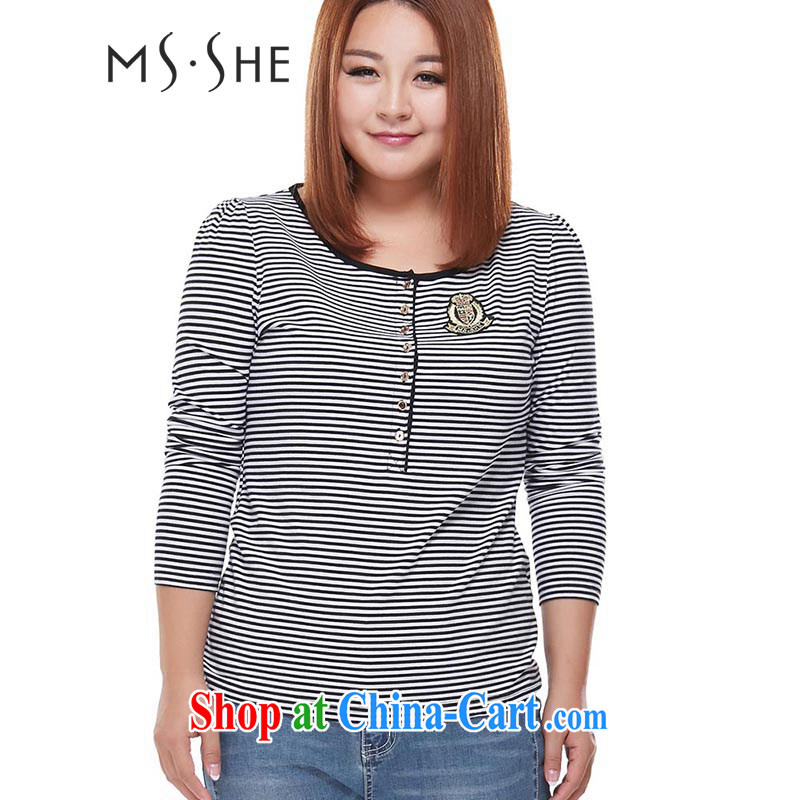 MSSHE XL ladies' 2014 mm thick load fall streaks graphics thin long-sleeved knit shirts solid shirt T shirt 3085 black-and-white, 3 XL