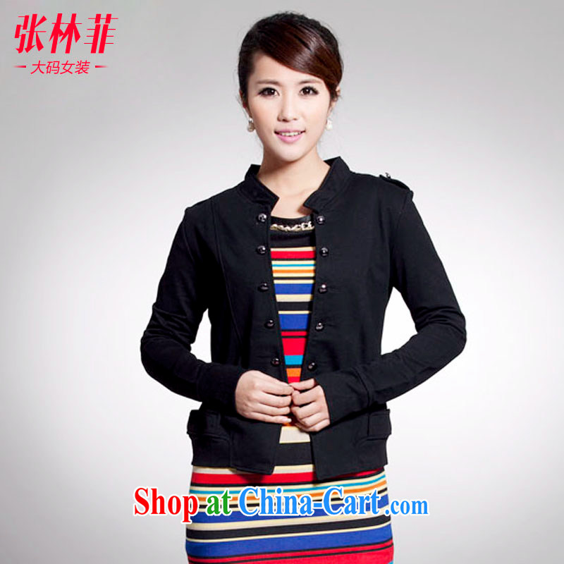 Zhang Lin , thick mm spring new 2015 larger female thick sister jacket jacket, the Netherlands small suit black 4 XL recommendations 180 - 200 jack