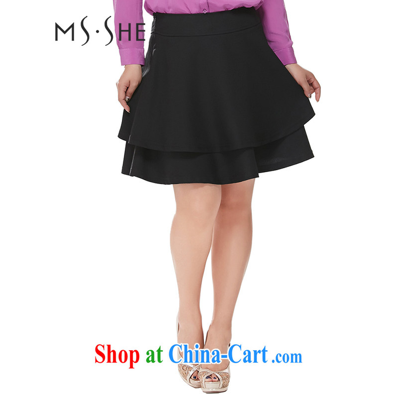 MsShe XL female body skirt 2015 new shaggy skirts Solid Color lady cake skirt XL skirts skirt body 6856 black T 6