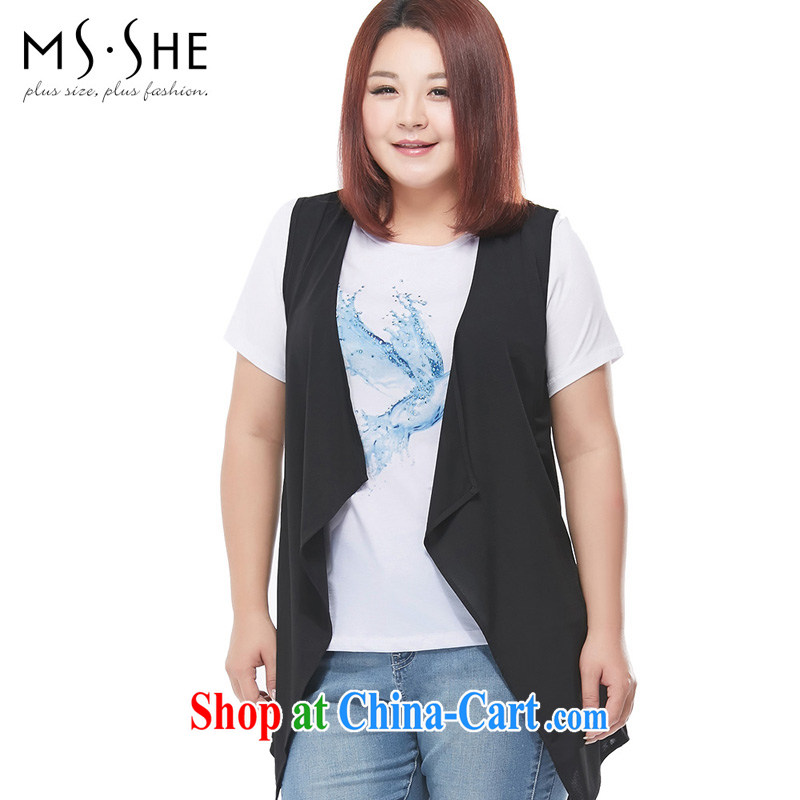 MSSHE XL girls 2014 new summer in short about 100 ground sleeveless ice woven a European wind thin 7211 black 6 XL