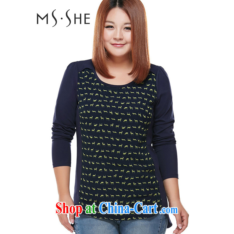 The MsShe indeed XL women 2015 spring new thick mm long-sleeved T-shirt T shirt solid T-shirt pre-sale 5762 Tibetan blue deer - pre-sale on 20 June to the 3 XL