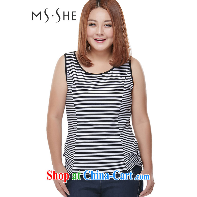 MSSHE XL 2014 strap vest streaks hit 100 color solid ground T-shirt with round collar sleeveless casual 3133 black 6 XL