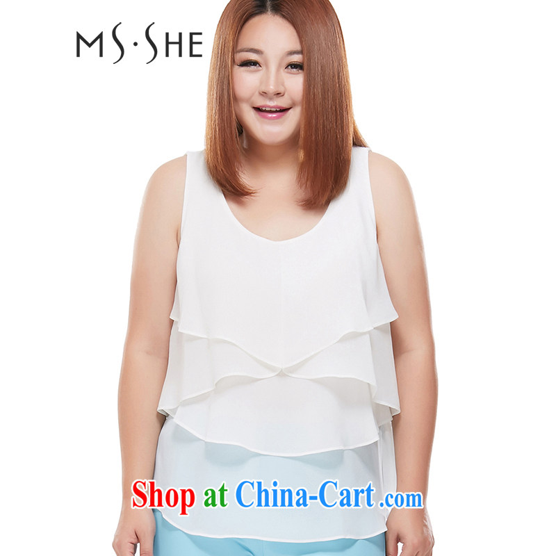 MSSHE XL girls 2014 new Autumn with solid stretch cotton vest straps snow woven flouncing 6657 sweet white 5 XL