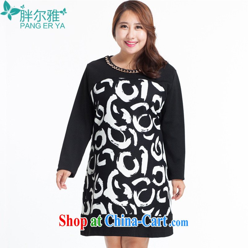 Thick Ljubljana spring 2015 new and indeed XL women mm thick beauty Europe video thin round-collar high waist stitching pattern 100 to dress female black 138 _XXXXXL_