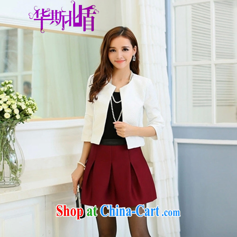 Early Autumn 2014 New Kit Korean Beauty small Hong Kong Wind two-piece fall even with clothing skirt autumn and winter jacket white + wine red body skirt XL