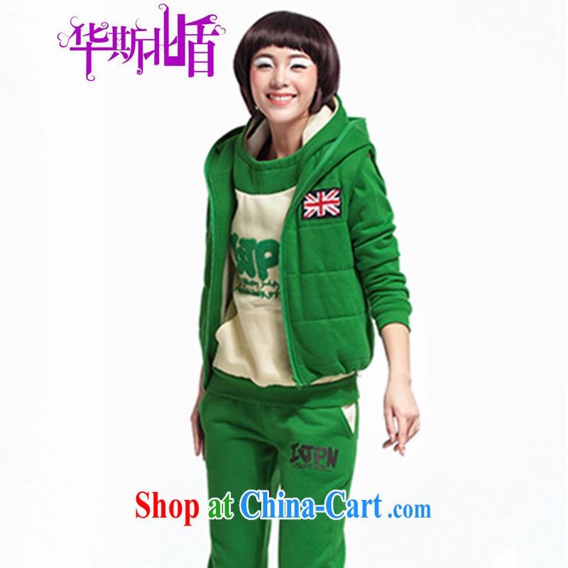 2014 New Head sweater 3-Piece thicken the lint-free cloth sweater Girls fall_winter jackets Casual Trousers sportswear green XXL
