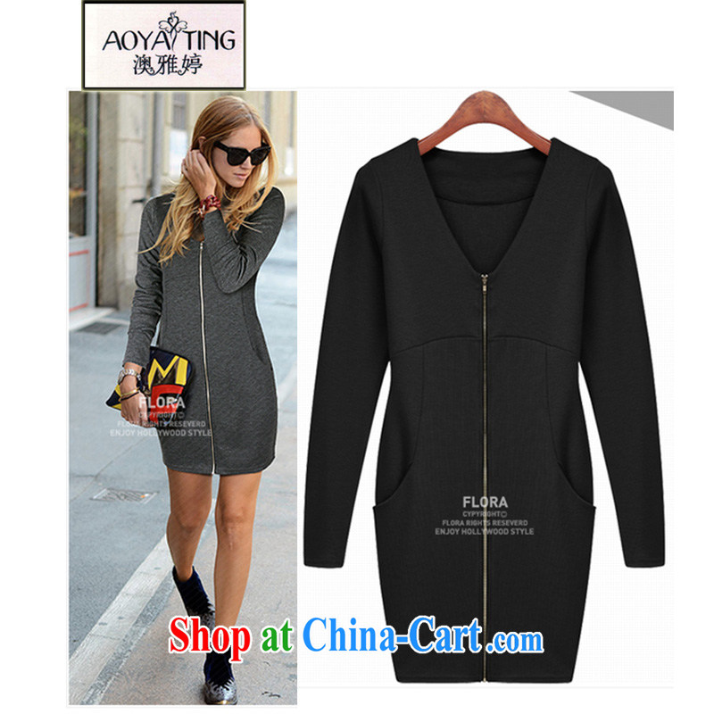 o Ya-ting in Europe and the Code women mm thick winter new zipper cardigan thick sister graphics thin long-sleeved suits skirt V receipts waist solid knitting cardigan black XXXXXL