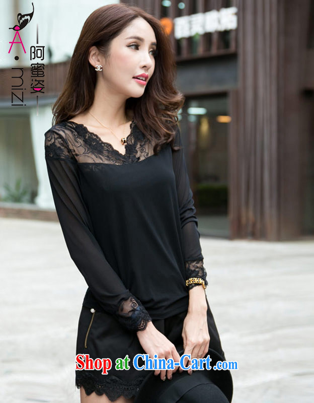 The honey beauty mm thick larger female autumn and the new commuter black lace-silk yarn long-sleeved V collar solid shirt T shirts women 9045 black XL