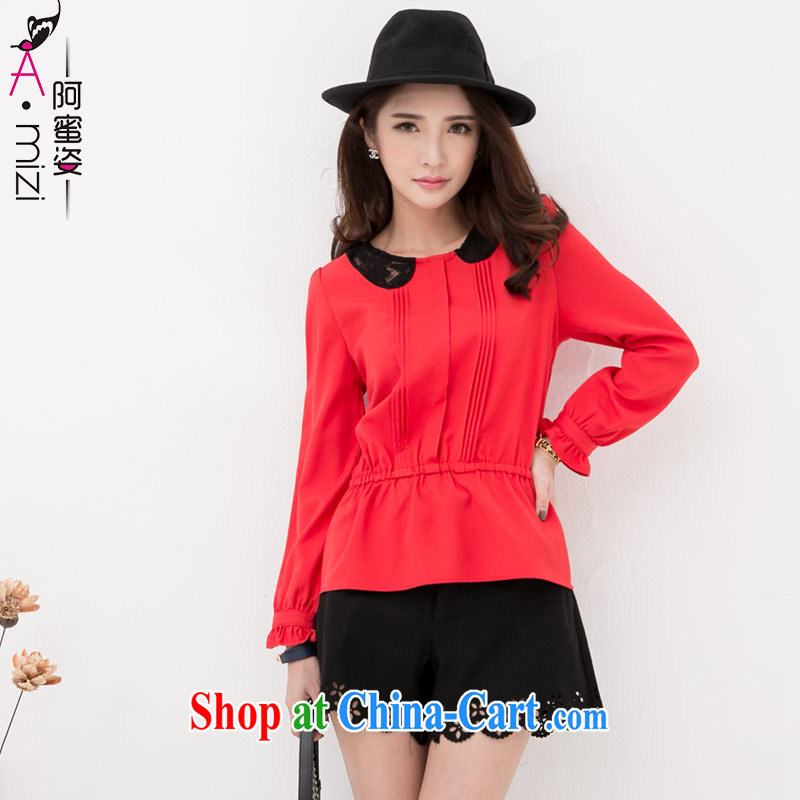 The honey and diverse expertise MM autumn and replace the code female Korean style lace stitching for a waist long-sleeved snow woven shirts shirt women 8750 red XXXXL