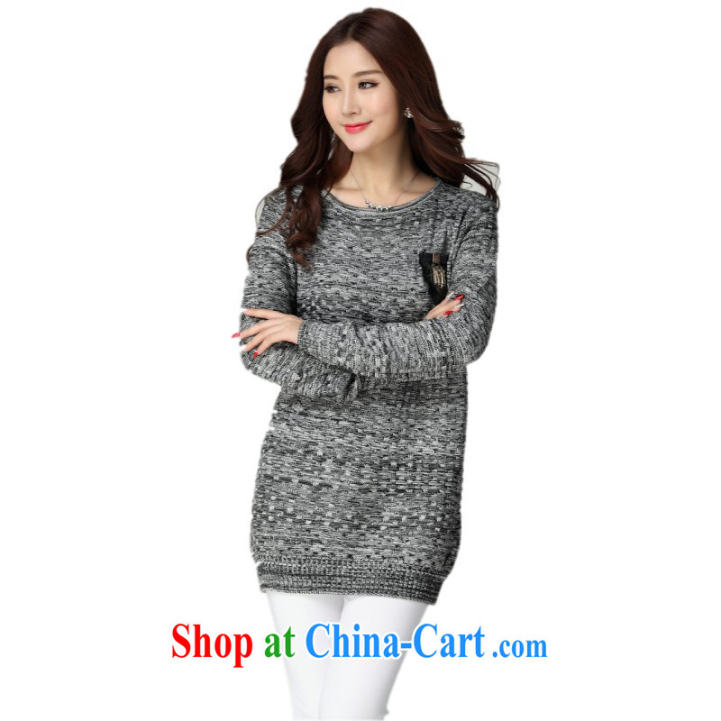 The delivery package as soon as possible the XL ladies sweater Korean leisure lace stitching long-sleeved cotton money knit gown mm thick solid sweater package and short skirts sweater gray
