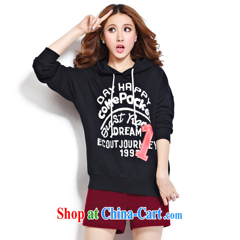cheer for the code female thick MM fall and winter new letter stamp thick sister graphics thin long hoody sweater Item No. 2272 black 5 XL