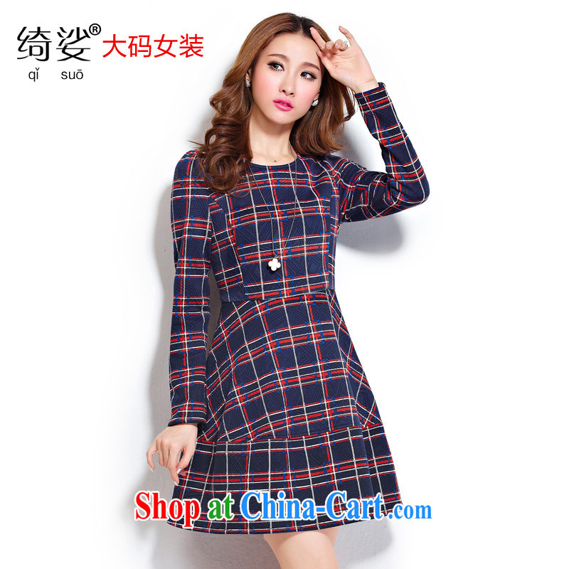 cheer for thick MM winter new women in Europe and America with tartan thick sister graphics thin large long-sleeved dresses Item No. 2295 blue 2 XL