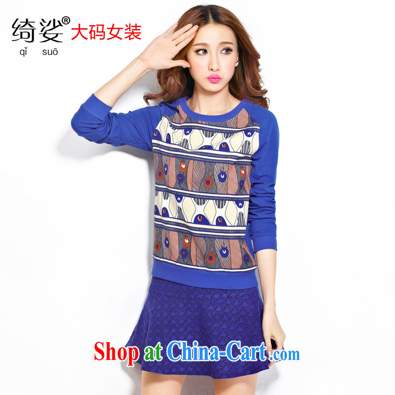 Cross-sectoral expertise provided MM autumn and winter, the larger female cartoon stamp thick sister graphics thin large long-sleeved shirt T number 2277 blue 4 XL