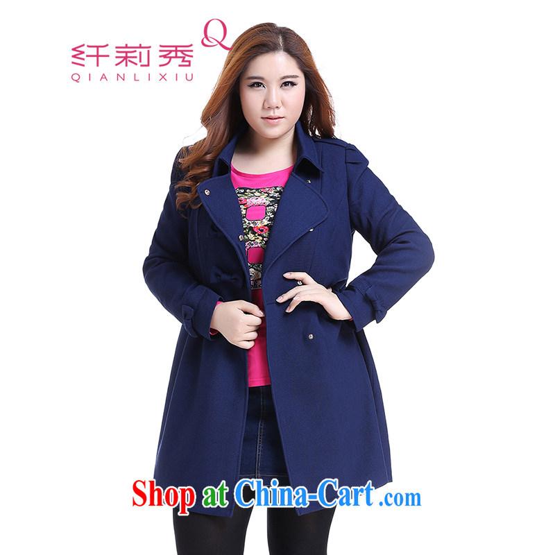 Slim Li-su 2014 fall and winter new larger female lapel sweet butterfly knot wind jacket Q 5957 BMW blue XL