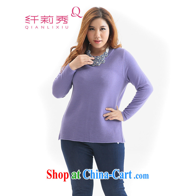 Slim Li-su 2014 autumn and winter new liberal minimalist round-collar long-sleeved woolen knitted shirts Q 5918 purple 3XL