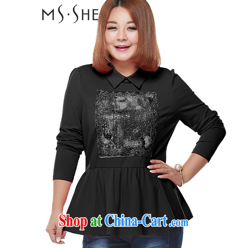 MsShe XL ladies' 2015 spring new thick MM sweet simplicity embroidery solid long-sleeved T-shirt 2149 black 6 XL