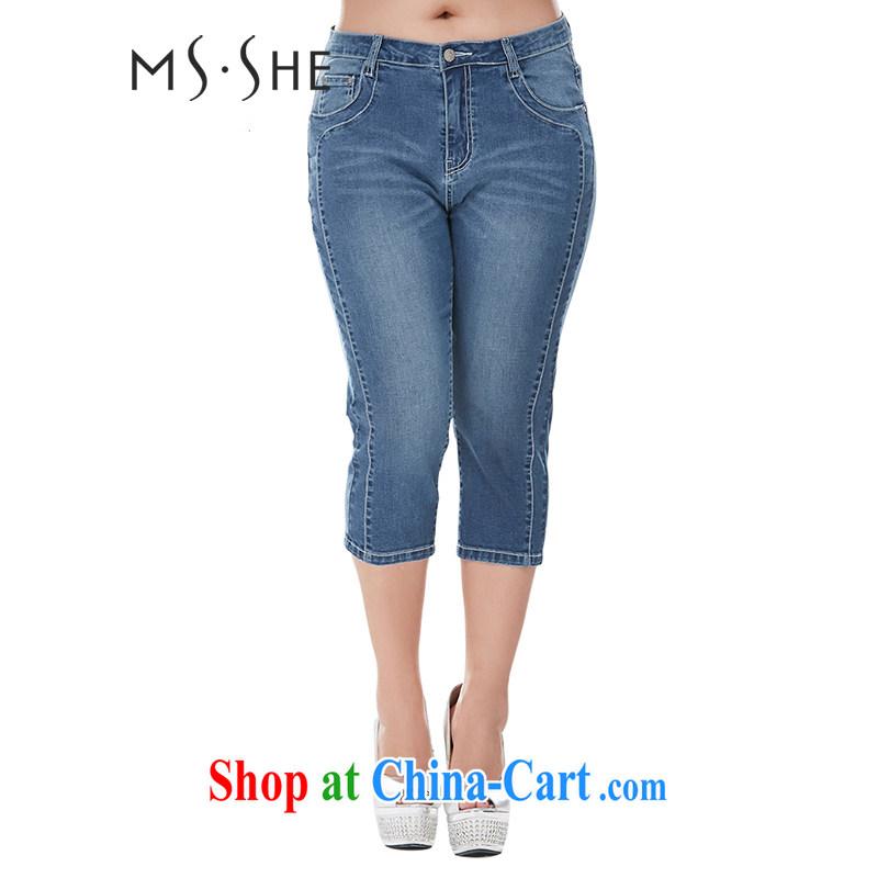 msshe autumn 2014 the larger female pants thick mm elastic Sau San video thin cowboy trousers castor pants 7182 denim blue 7 T 3