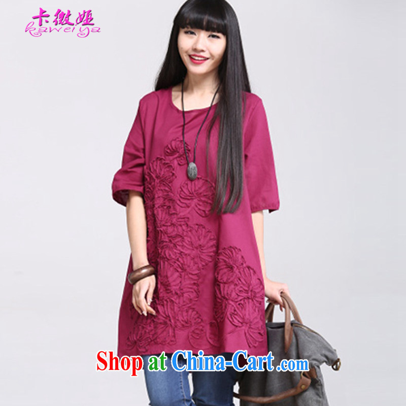 The micro-SIA new larger female summer thick sister graphics thin, the fat and the cotton embroidered short sleeve loose the collar long thick mm dresses girls T-shirt wine red XXL code_145 - 160 jack