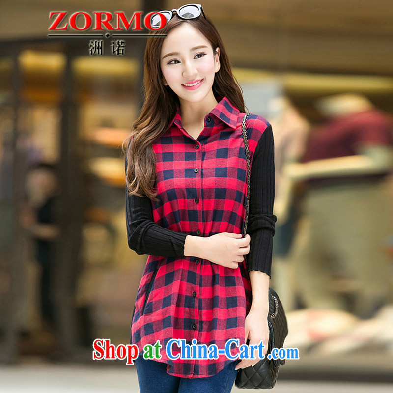 ZORMO Korean female autumn and winter, mm thick and fat XL tartan shirt, long, solid casual attire red 5 XL 175 - 195 jack