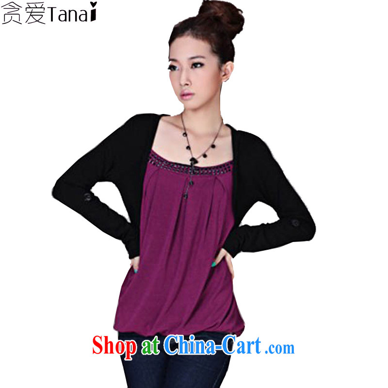 Loved spring new Korean Leisure Centers mm loose the fat XL female 200 Jack long-sleeved shirt T 102 Magenta 3 XL recommended weight around 175