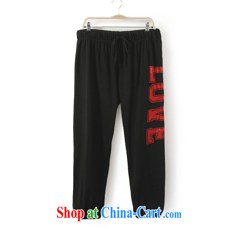 New, and indeed increase, female fat mm autumn loaded the code female casual pants pants King code 200 Jack hLK black 1X