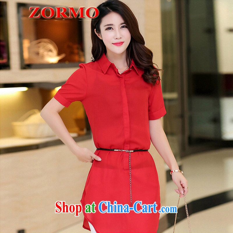 The ZORMO Code women summer mm thick and fat XL shirt girls in long Business Casual Attire shirt red XXXL 145 - 165 jack