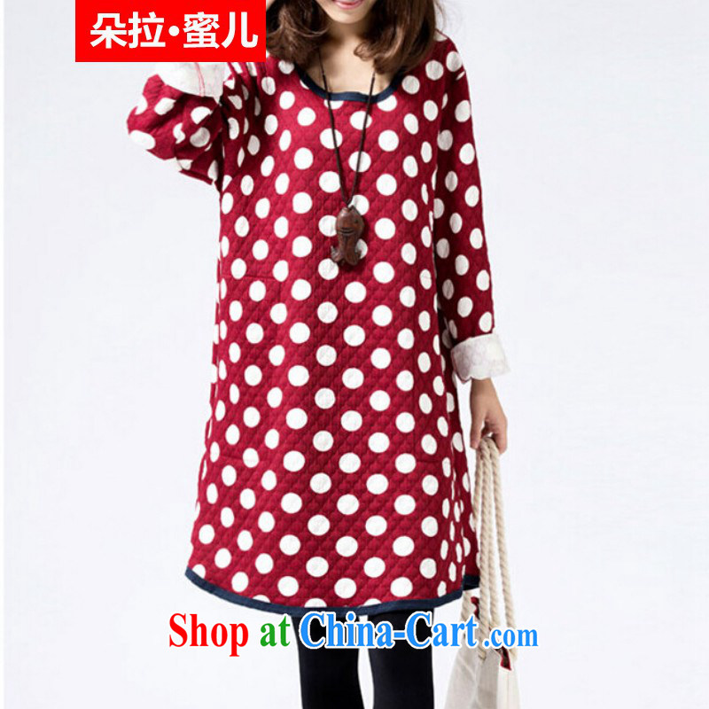Dora, honey Child Care 2015 spring loaded new Korean version the code dot long-sleeved round-collar solid dress 10603487 red XXL