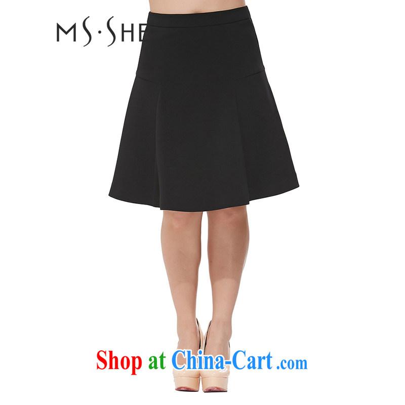 MSSHE XL girls 2014 new Autumn with Solid Black high waist 100 hem skirt waist skirt 6386 black T 6