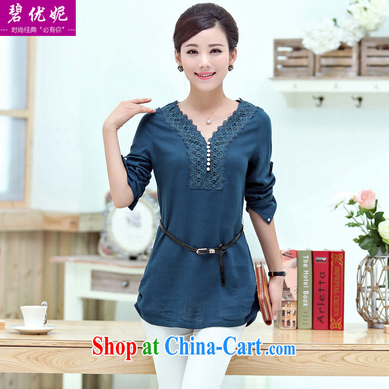 Pi-optimize her new middle-aged mother with autumn and replace the fat XL loose cotton shirt the girl long-sleeved V collar shirt T pension BW 09,623 cowboy blue M recommendations 110 - 120 jack