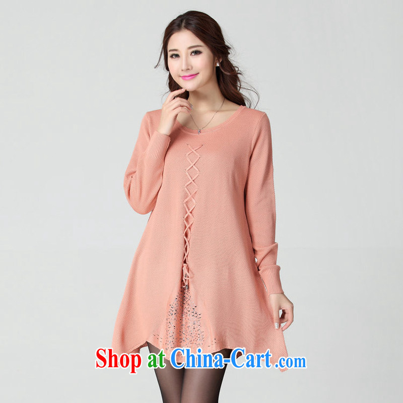 The estimated increase, female 2014 autumn and winter version Korea ladies casual XL thick sister loose video thin 100 in a long, long-sleeved knit shirts solid T-shirt package mail pink large code are code