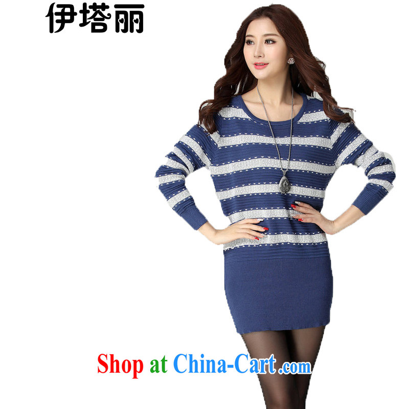 The Taliban, thick mm XL women 2015 spring loaded new Korean version with cultivating solid long-sleeved sweater knitting clothing striped Sweater Knit-female blue-and-white, large numbers are code brassieres 100 - 118
