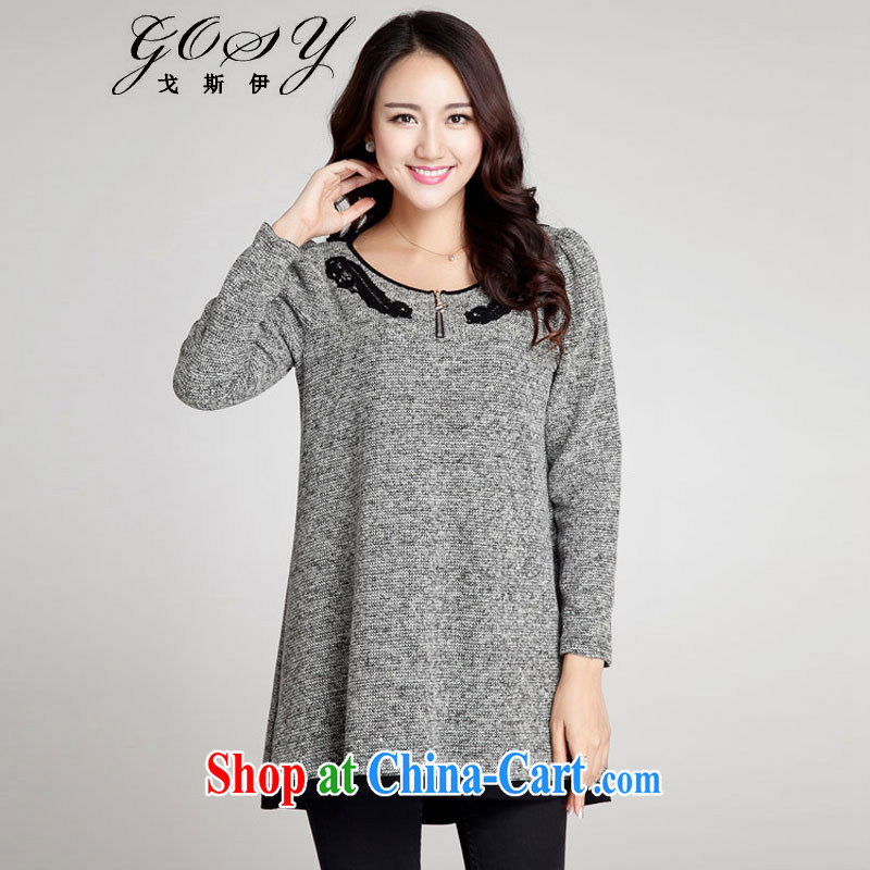 Goss _GOSY_ Autumn 2014 the new, larger female fat people dress Openwork lace stitching long-sleeved dresses gray XXXXL