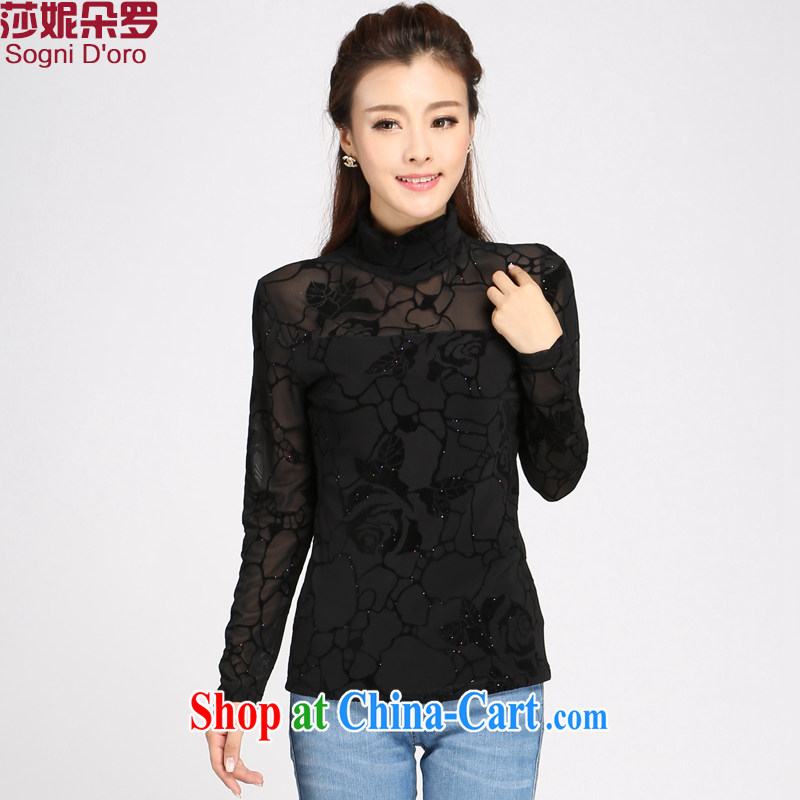 Elizabeth Anne flower, the code female solid T-shirt girls and indeed increase 200 Jack thick sister spring Korean video thin T shirt T-shirt woman 1108 piano black 6 XL pro-clothing - Graphics thin,