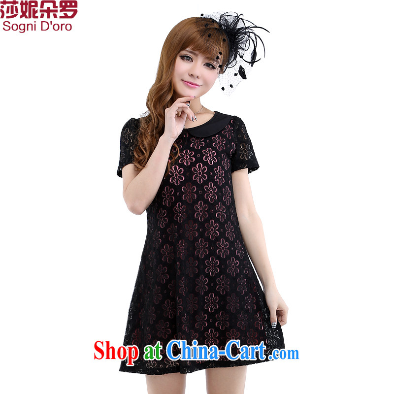 Limited time clearance -- thick sister and indeed XL women mm thick summer 2014 new lace dress 6211 black 2 XL