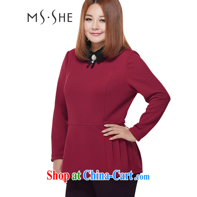 MsShe XL female 2014 autumn and winter new sweet baby for cultivating sweater T pension 2040 wine red 5 XL