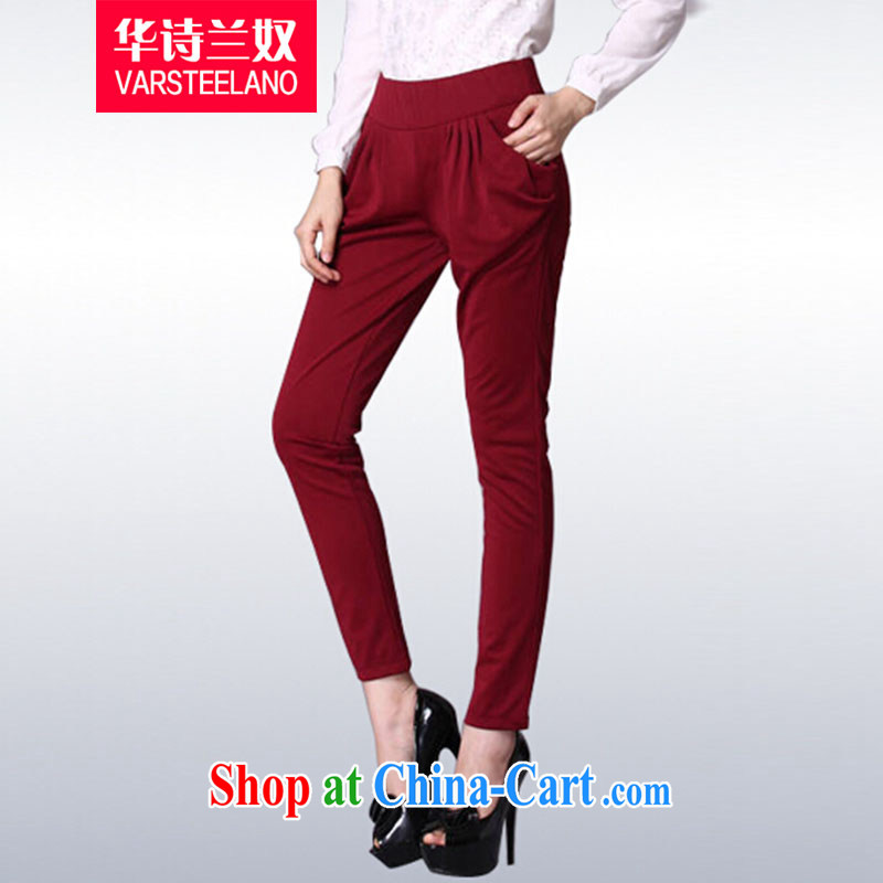 Chinese poetry, slavery 2014 autumn and winter, the larger female castor pants Stretch video thin Harlan pants female S 312 wine red XXXL