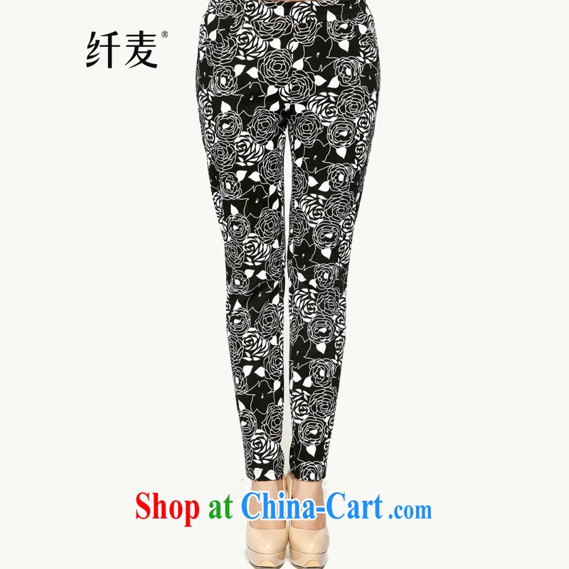 The MAK King Code women autumn 2014 the new thick mm stylish casual floral beauty long pants 43,357 black-and-white take 3 XL
