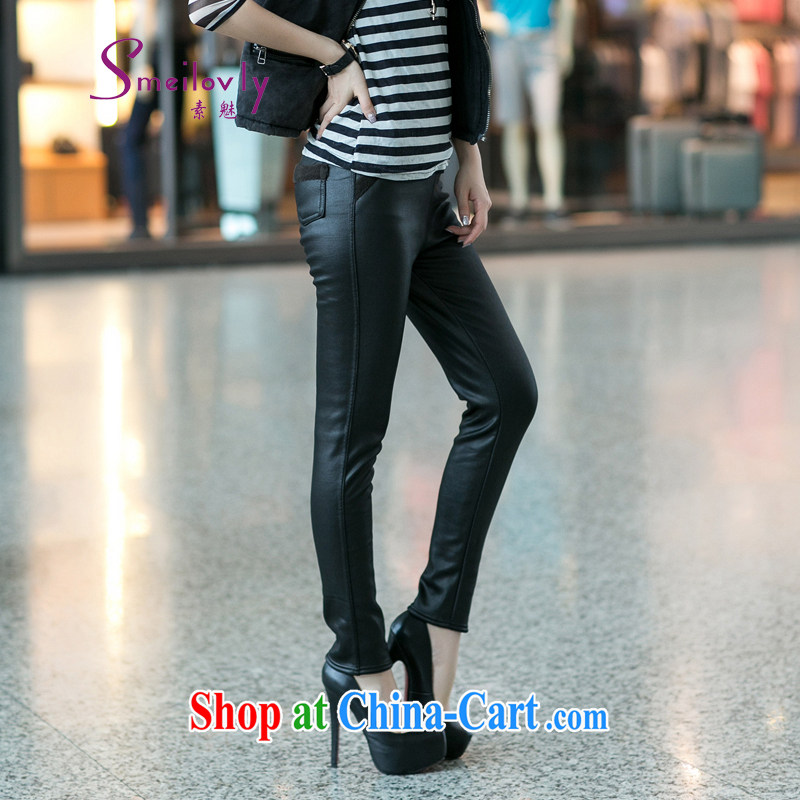 Staff of the Code's 2014 fall and winter new the lint-free cloth thick stylish leather pants 9012 black 2 XL (the lint-free)