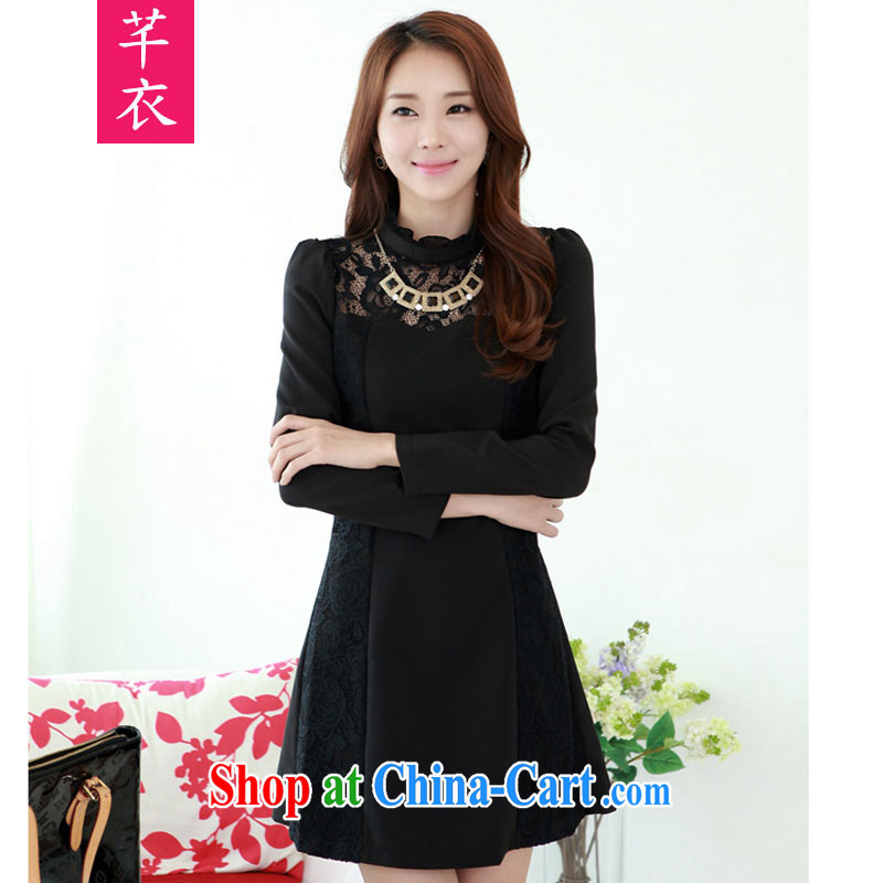 Constitution, indeed, thick sister XL girls 2015 new spring Korean lace stitching the Commission the petal collar lady, long-skirt black to reference brassieres option, or the Advisory Service