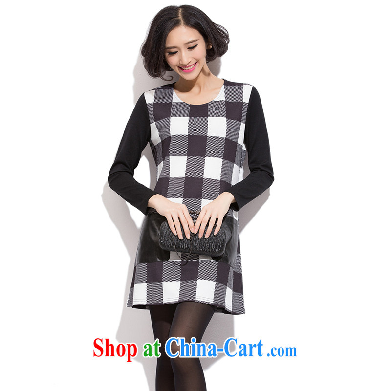 Zhang Lin , the fat XL thick mm autumn 2015 the new Korean version of the greater code thick sister beauty graphics thin grid stitching even long-sleeved clothing and skirts as figure 5 XL recommendations 180 - 200 jack