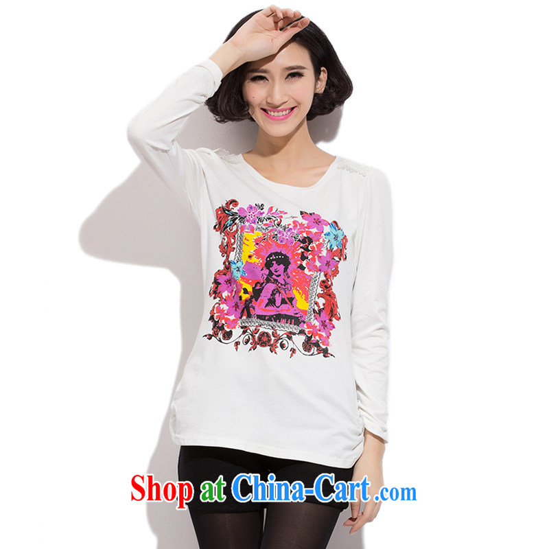 Increase the fat increase Code women mm thick fall 2015 with new, large, modern female 100 ground graphics thin commute round-collar stamp T shirt solid white shirt 3 XL