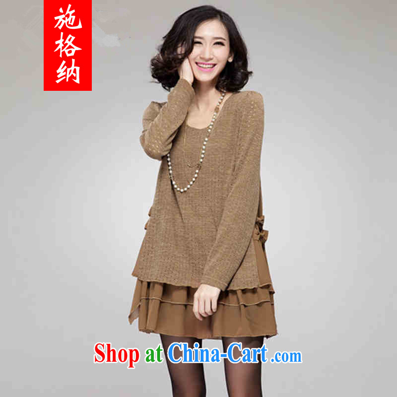 The rate of fall 2015 the new emphasis on MM and indeed increase, female liberal jacquard knitting stitching snow woven dresses 1811 deep card its the color XXXL