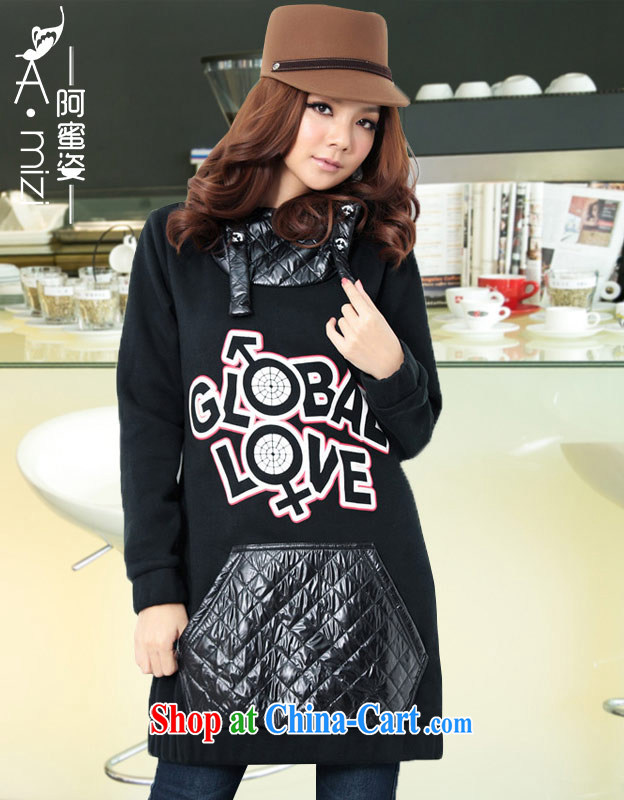 The honey colorful thick mm larger female Korean winter clothing thick warm letters loose long leisure sweater woolen sweater women 2151 black large numbers are code recommendations 110 140 jack
