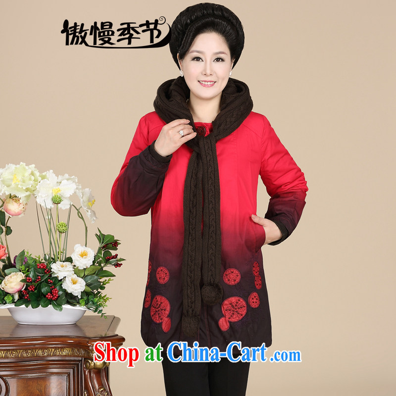 Arrogant season 2014 new middle-aged and older mother female winter clothing thick larger quilted coat middle-aged cap warm the fat girl parka brigades