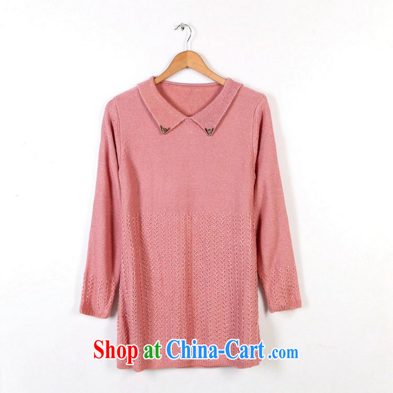 Yet, the clothing and the obesity mm knitted sweater dress Korean small lapel sweater long-sleeved sweater Solid Solid Color the code graphics thin stretch sweater sweater pink are code 130 - 180 jack