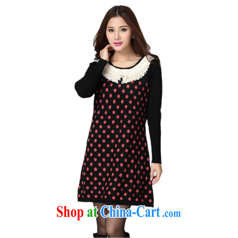 Yet, the clothing and the ventricular hypertrophy, sweater skirt fall and winter season with sweet lace round-collar wave point knitting long-sleeved dress mm thick solid short skirts dot Mrs Red points are code for 130 - 180 jack