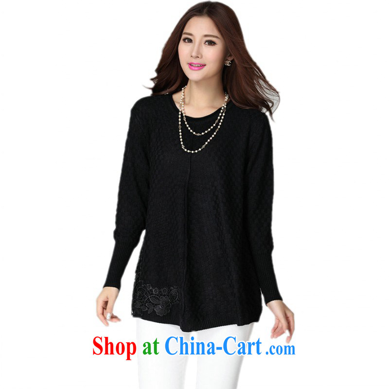 Land is still the garment package mail female XL sweater Korean simple lady lace decals bow-tie casual shirt long-sleeved knitted T-shirt solid black T-shirt are code for 130 - 180 jack
