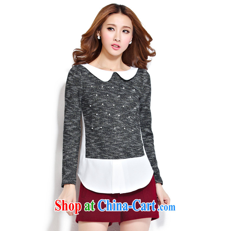 cheer for the code women with thick MM autumn and winter, the sweet false 2 thick sister graphics thin long-sleeved woolen shirt T pension number 2275 black 5 XL