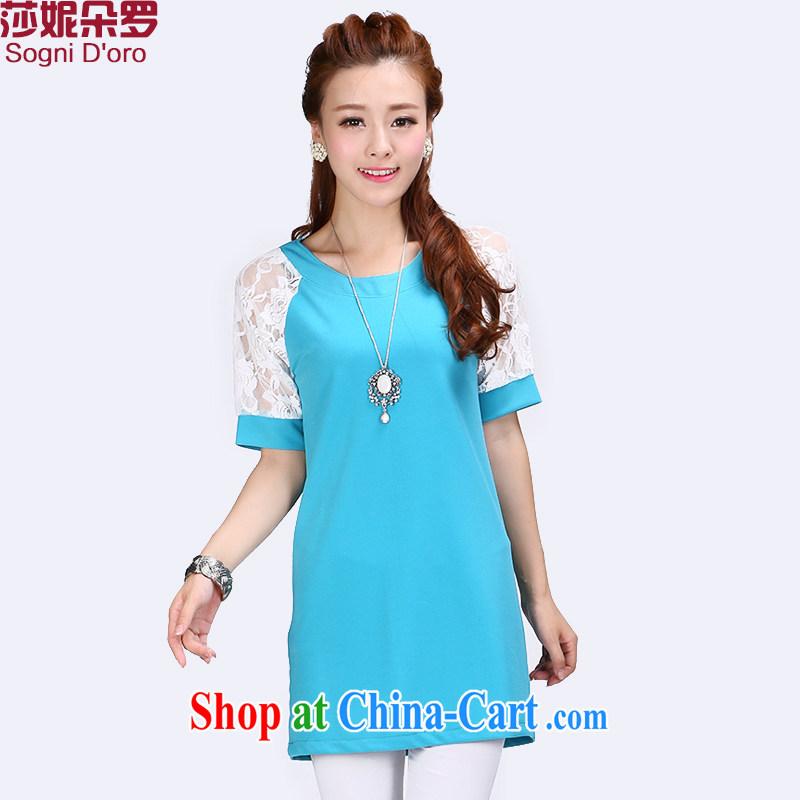 Elizabeth Anne flower, XL girls thick mm summer new 2014 minimalist round collar shirts T-shirt 6785 light blue 5 XL